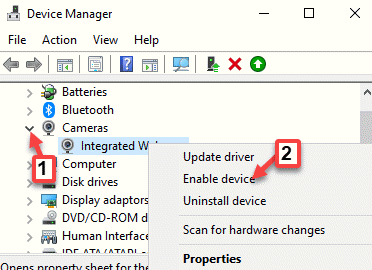 Device Manager Cameras Integrated Camera Right Click Enable Device