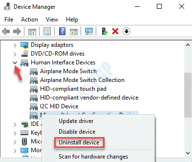 Device Manager Human Interface Devices Expand Uninstall Device