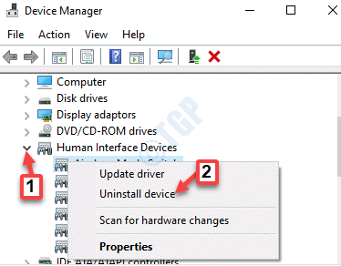 Device Manager Human Interface Devices Expand Device Right Click Uninstall Device