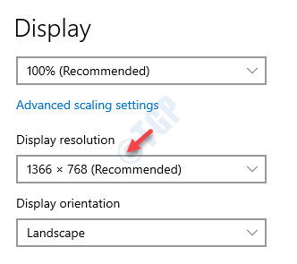 Display Settings Right Side Display Resolution