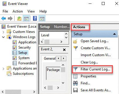 Event Viewer Actions Filter Current Log