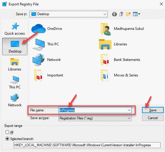Export Registry File Desktop File Name Save