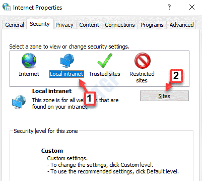 Internet Properties Local Intranet Sites