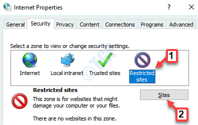 Internet Properties Security Restricted Sites Sites