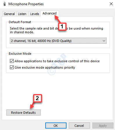 Microphone Properties Advanced Restore Defaults Apply Ok