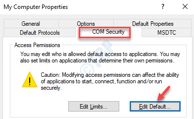 My Computer Properties Com Security Edit Default