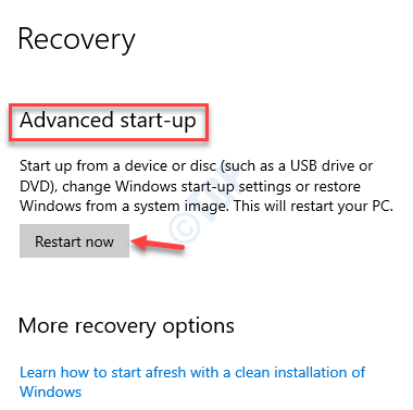 Recovery Advanced Startup Restart Now