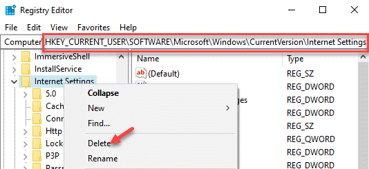 Registry Editor Navigate To Internet Settings Right Click Delete
