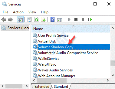 Services Name Volume Shadow Copy