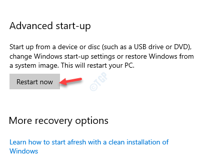 Settings Recovery Advanced Startup Restart Now
