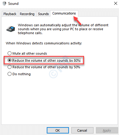 Sound Communications Reduce The Volume Of Other Sounds By 80 Ok