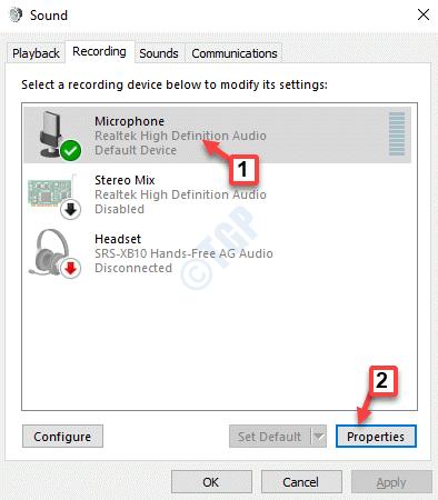 Sound Recording Microphone Properties