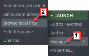 Steam Game Right Click Manage Brrowse Local Files