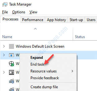 Task Manager Processes Tab Wusa.exe Right Click End Task