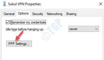 Vpn Prorperties Options Ppp Settings