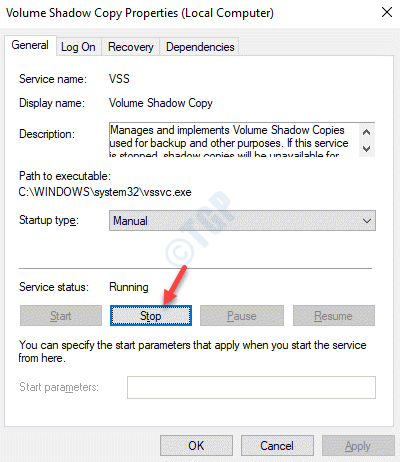 Volume Shadow Copy Properties Service Status Stop