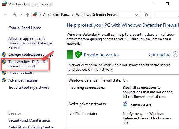 Windows Defender Firewall Control Panel Turn Windows Defender Firewall On Or Off