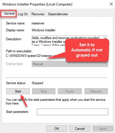 Windows Installer Properties General Startup Type Manual Start Apply Ok