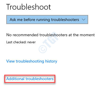 Windows Troubleshoot Additional Troubleshooters