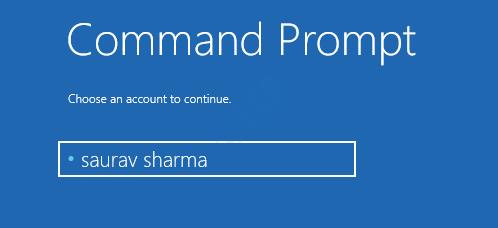 Command Prompt Choose Account Startup Repair