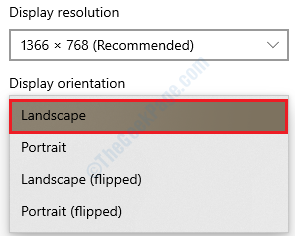 Display Orientation Landscape