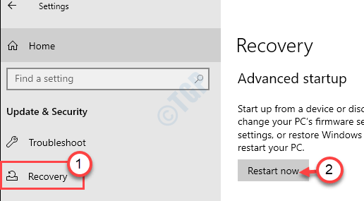 Recovery Restart Now Min