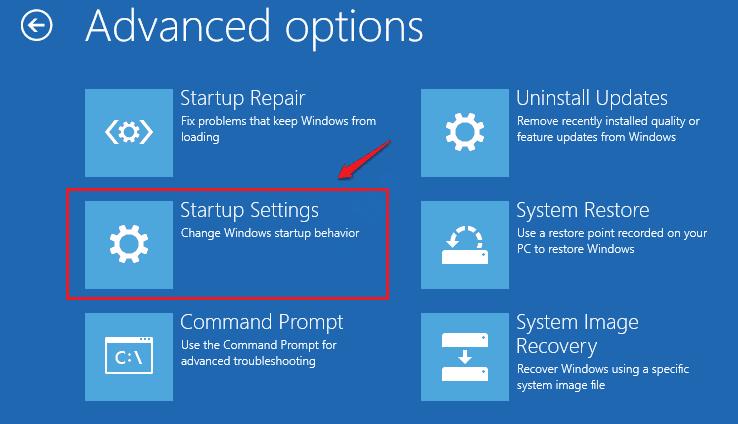 Startup Repair Startup Settings