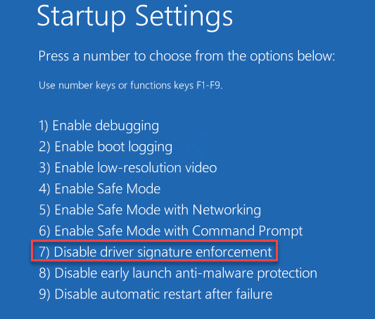 Startup Settings Disable Driver Signature Enforcement