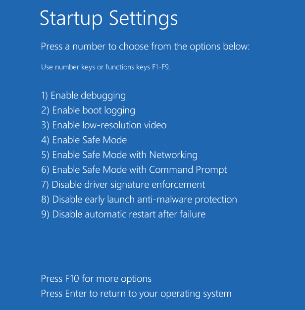Startup Settings Options Safe Mode 1234 Startup Repair
