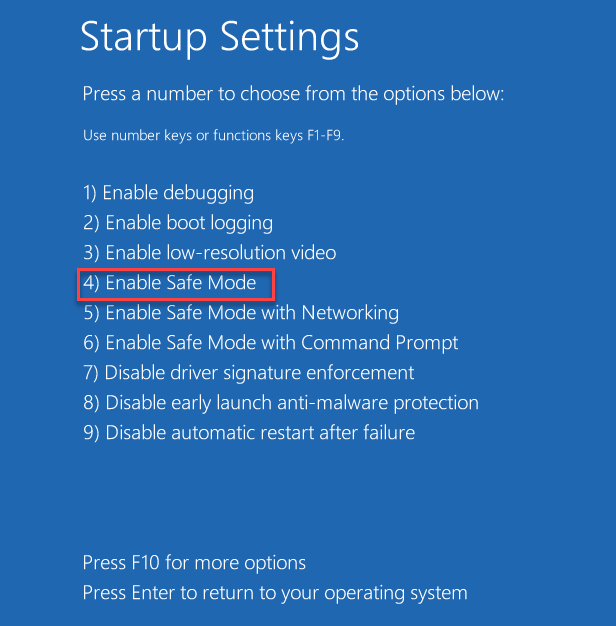 Startup Settings Options Safe Mode 1234 Startup Repair Min Min