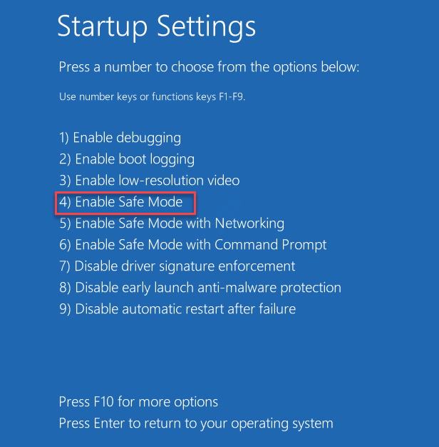 Startup Settings Options Safe Mode 1234 Startup Repair Min