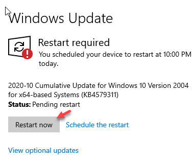 View Optional Update Restart Now Min