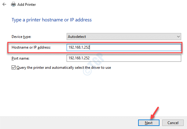 Add A Printer Hostname Or Ip Address Next