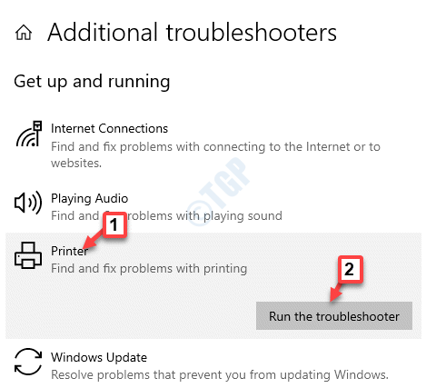 Additional Troubleshooters Get Up And Running Printer Run The Troubleshooter