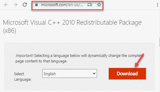 Browser Visit Official Micrsoft Link For Vc Redistributable Package Downlod