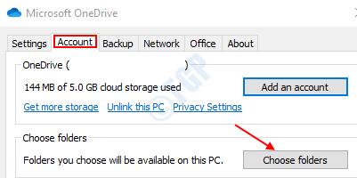 Choose Folder In Account Tab