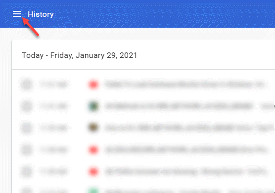 Chrome History Three Horizontal Lines