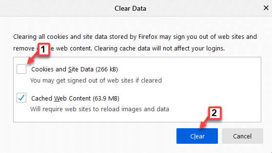 Clear Data Cookies And Site Data Uncheck Clear