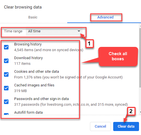 Clear Browsing Data Time Range All Time Check All Boxes Clear Data