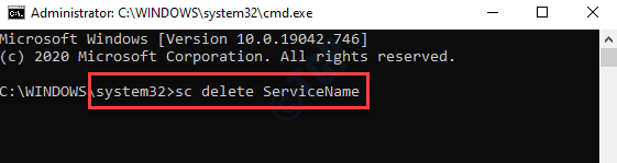 Command Prompt (admin) Run Command To Delete Service With Service Name Enter