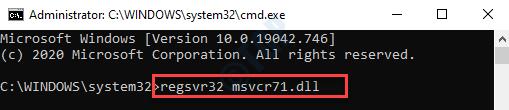Command Prompt (admin) Run Command To Register The Msvcr71.dll File Enter