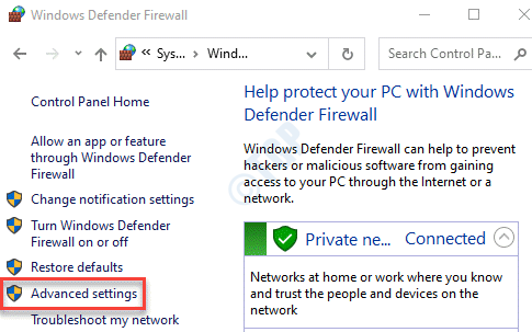 Control Panel Windows Defender Firewall Advanced Settings