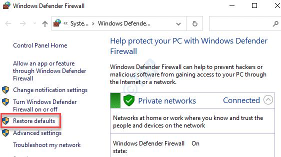 Control Panel Windows Defender Firewall Restore Defaults