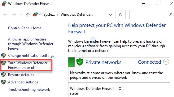 Control Panel Windows Defender Firewall Turn Windows Defender Firewall On Or Off