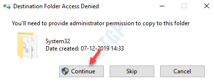 Destination Folder Access Denied Pop Up Continue