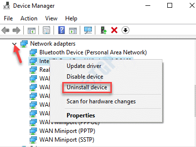 Device Manager Network Adapters Uninstall Device