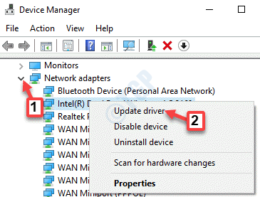 Device Manager Network Adapters Expand Update Driver