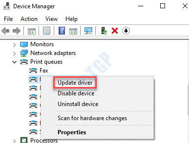 Device Manager Print Queues Printer Right Click Update Driver