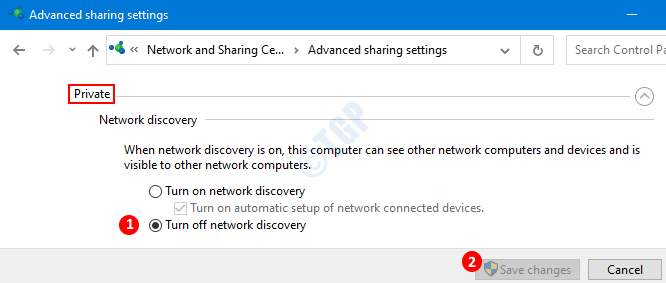 Disable Network Discovery For Private Network
