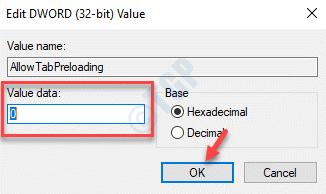 Edit Dword (32 Bit) Value Allowtabpreloading Value Data 0 Ok